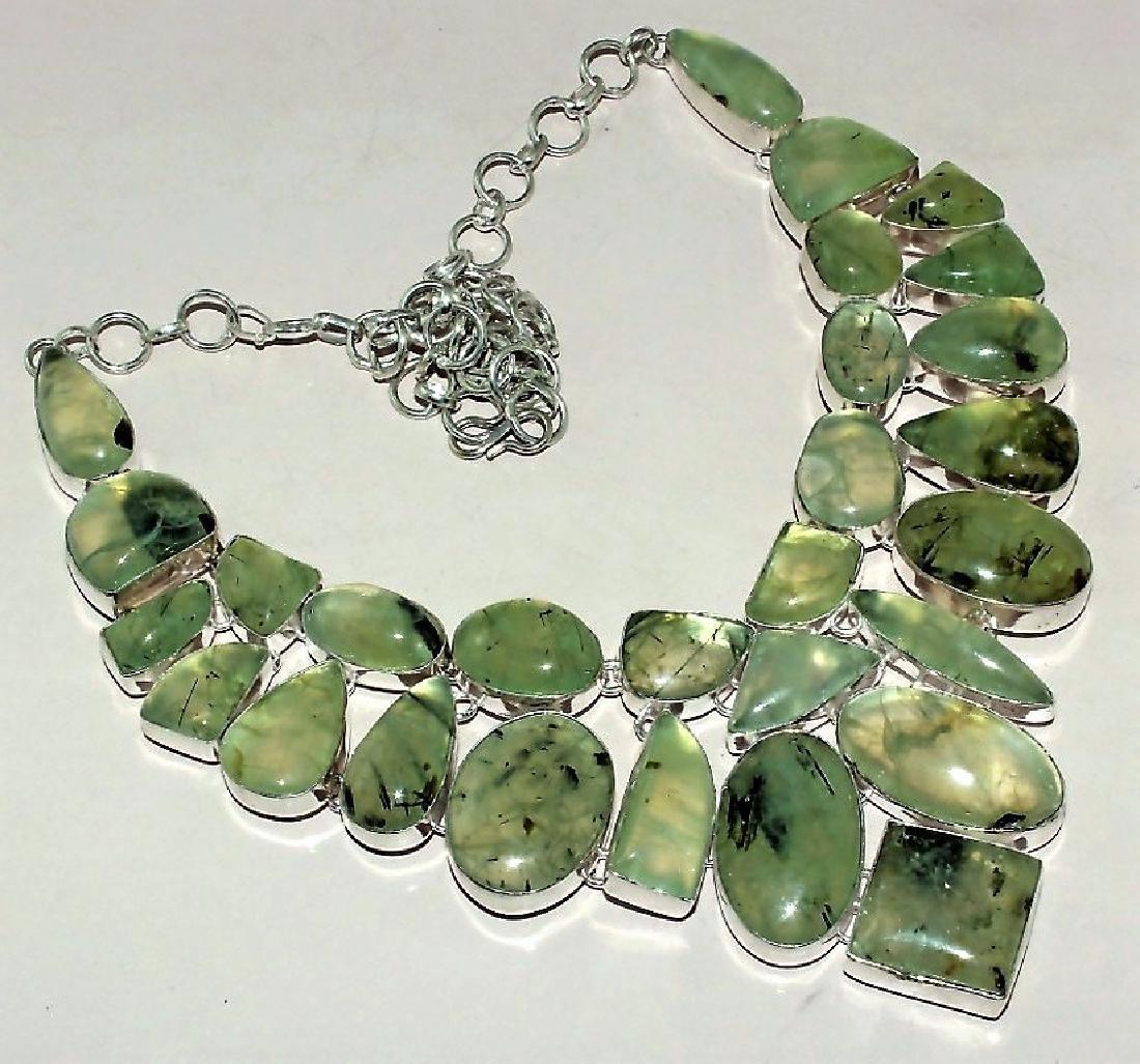 Amazing Prehnite Silver Necklace