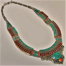 NEPALESE TURQUOISE WITH RED CORAL & LAPIS LAZULI.925