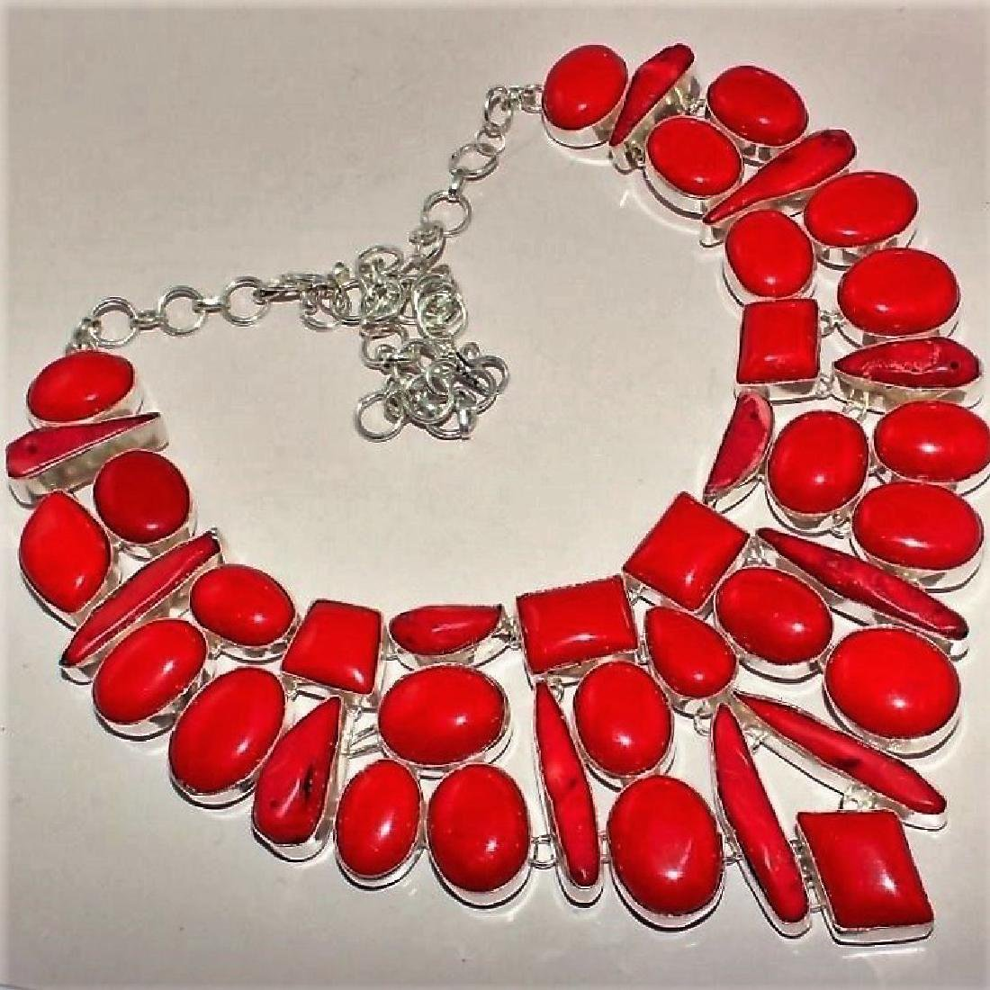 Italian Red Coral Silver Necklace