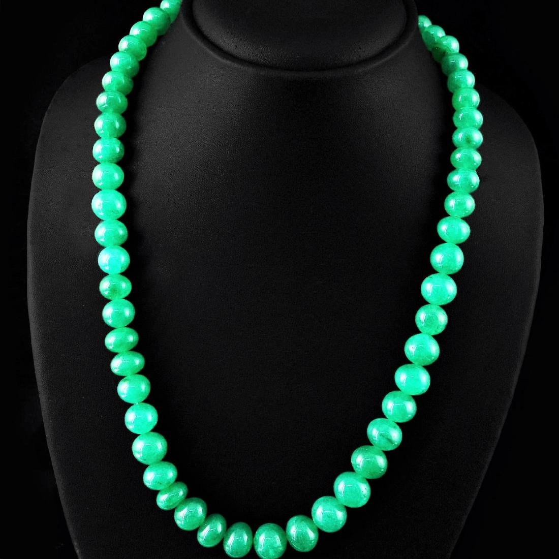 EARTH MINED RICH GREEN EMERALD ROUND BEADS NECKLACE