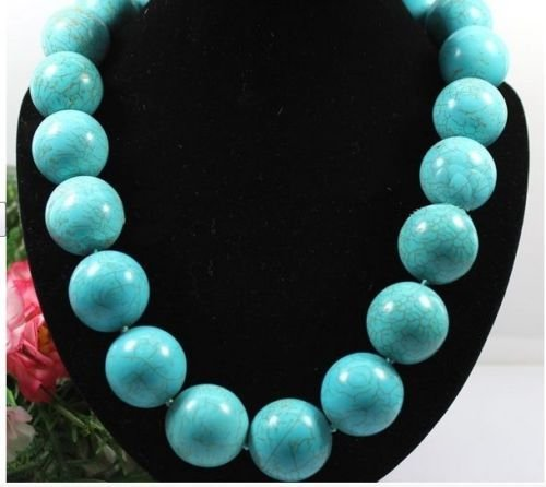 18mm Round natural Turquoise Stone Choker Necklace