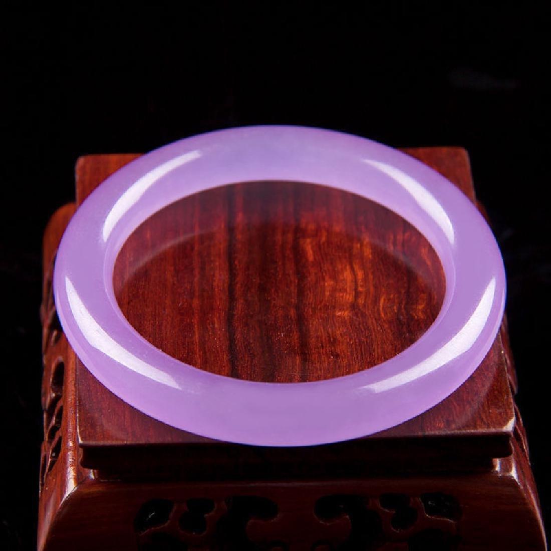 Certified 100% Natural purple Jade Bangle Bracelet - 2