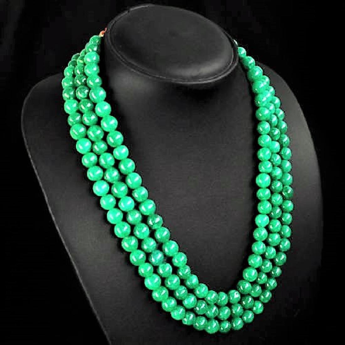 ELEGANT EARTH MINED 3 LINE ROUND GREEN EMERALD