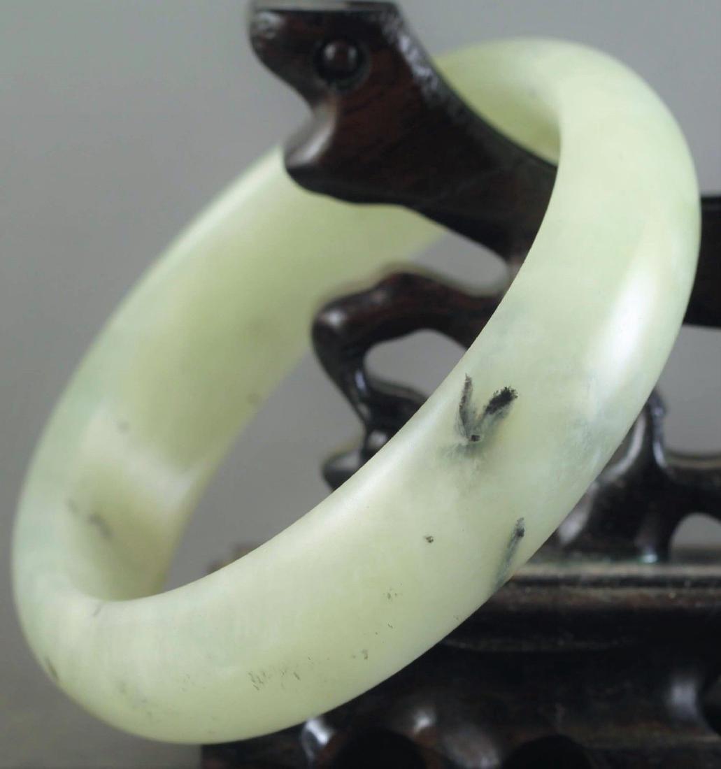 Chinese old natural jade hand-carved Bangle