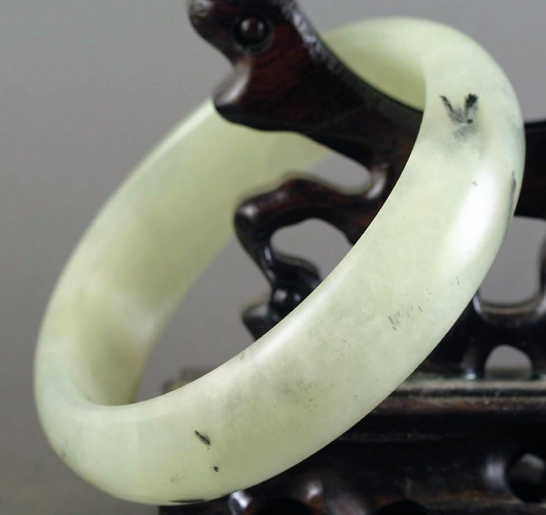 Chinese old natural jade hand-carved Bangle - 3