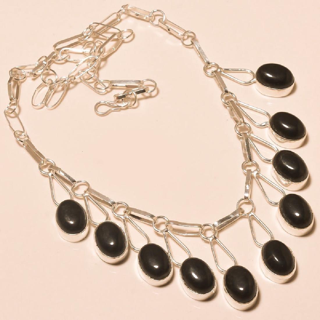 Shining Black Onyx Marvelous .925 Silver Necklace