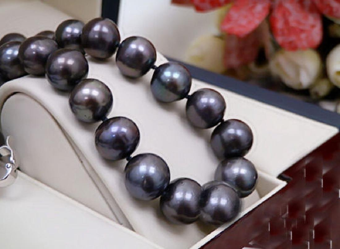 Black Color Real Pearl 13-14mm AAA Natural Pearl - 2
