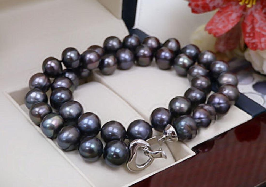 Black Color Real Pearl 13-14mm AAA Natural Pearl - 3