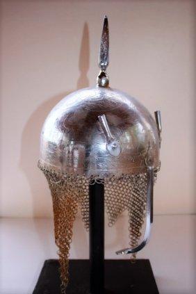 Middle Eastern Helmet bronze gilt selvar