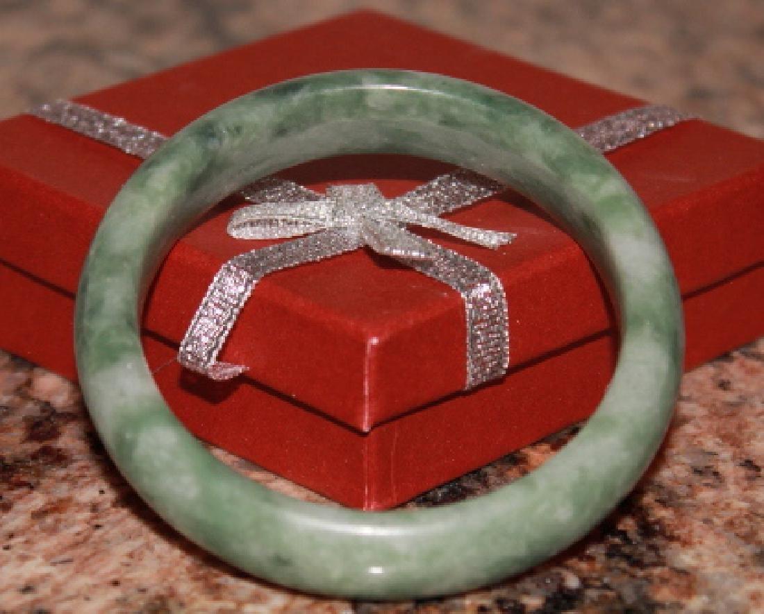 Natural Light Green Jade Bangle