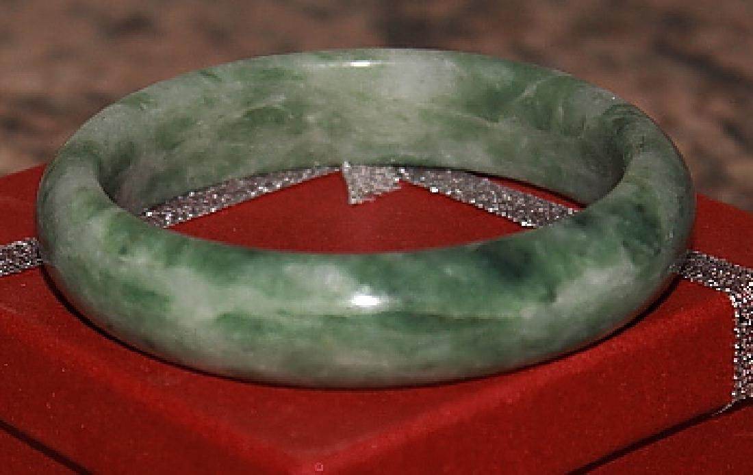 Natural Light Green Jade Bangle - 2