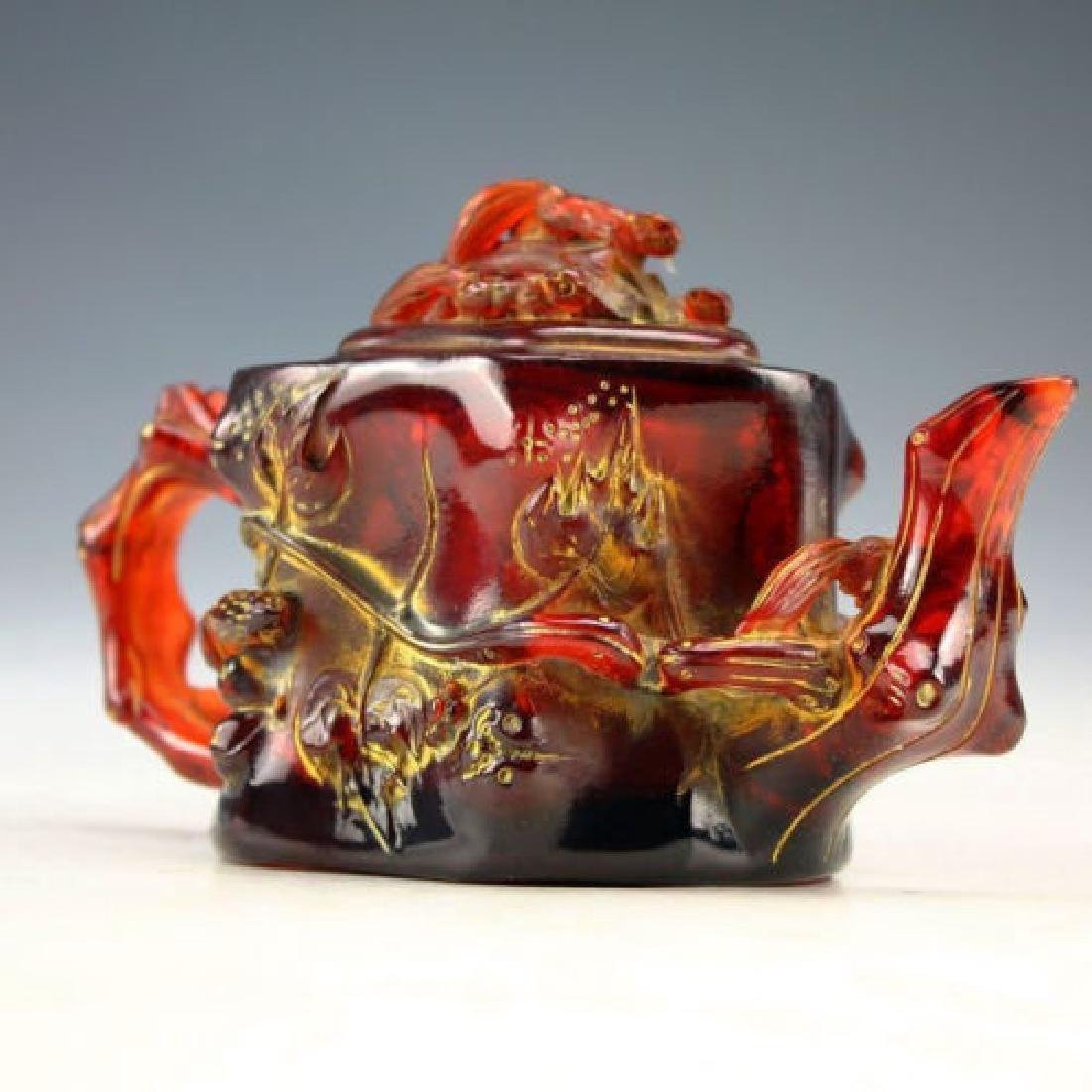 Oriental Carved Amber Beeswax Flower Teapot