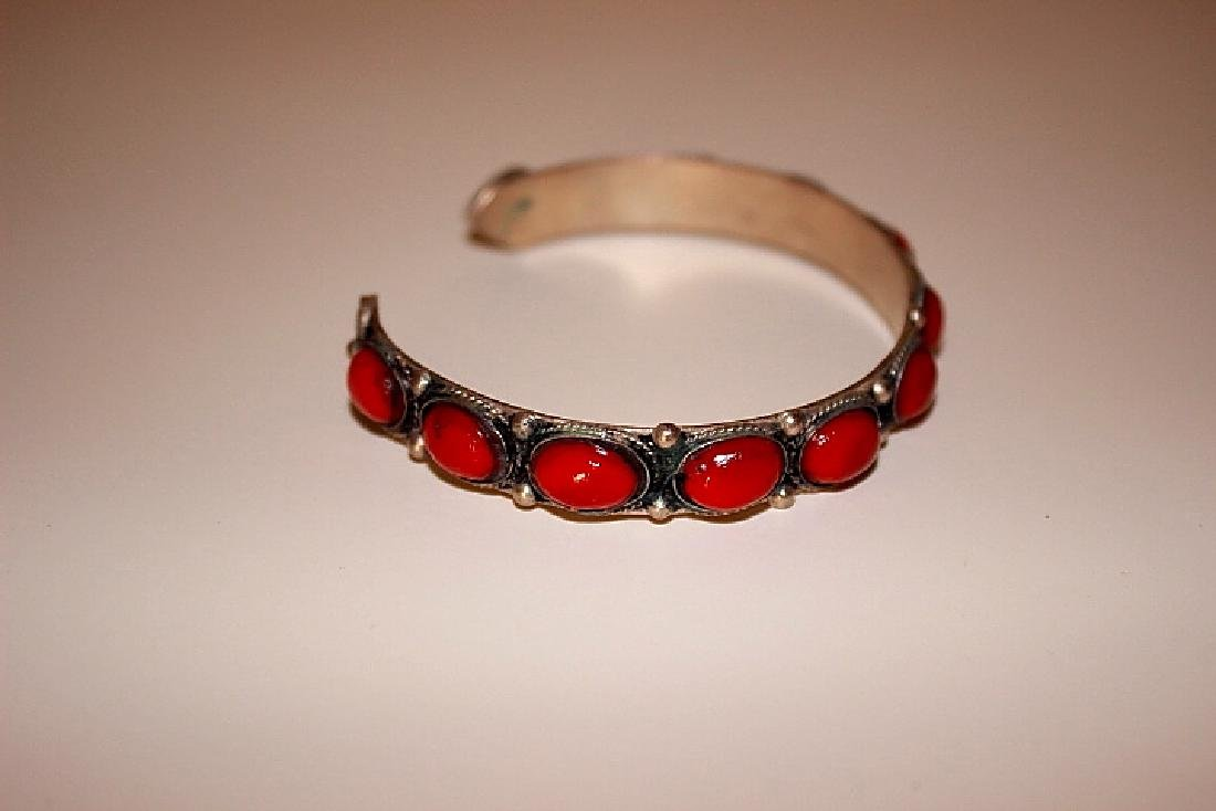 Coral Silver Bracelet Bangle