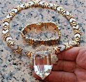 14K Yellow and White Diamond Necklace and Bracelet