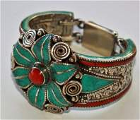 TURQUOISE WITH RED & YELLOW CORAL 925 SILVER TIBETAN