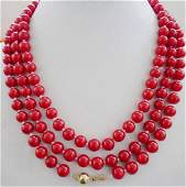Natural 8mm Red Coral Necklace 56 14K Gold Clasp