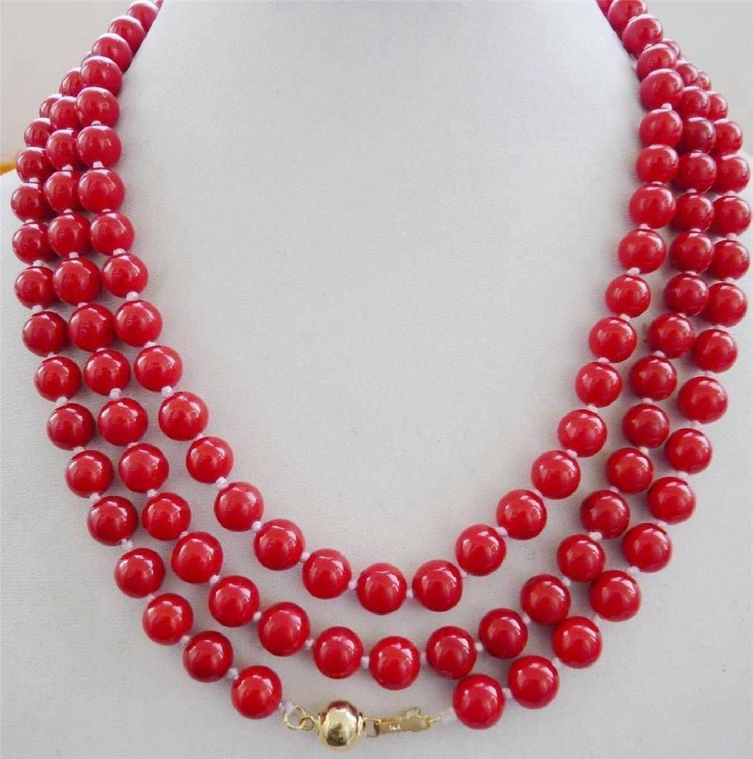 """Natural 8mm Red Coral Necklace 56"""" 14K Gold Clasp"""