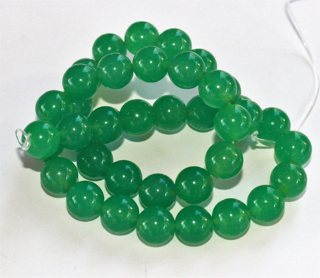 """12MM NATURAL GREEN JADE ROUND BEAD Sstand 15"""" AAA+"""