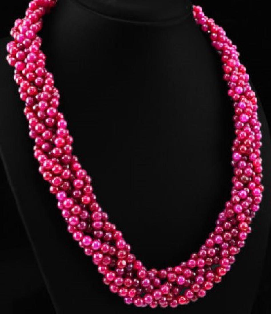 NATURAL RED RUBY ROUND BEADS NECKLACE