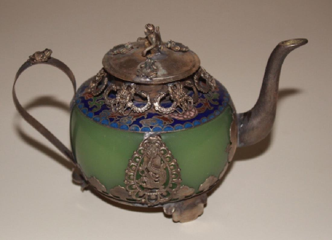 Jade & Tibet Silver Dragon Tea Pot - 2