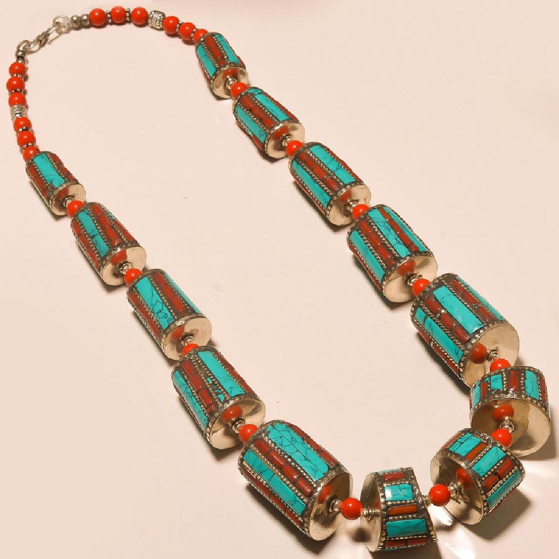 TIBETAN TURQUOISE WITH RED CORAL 925 NECKLACE