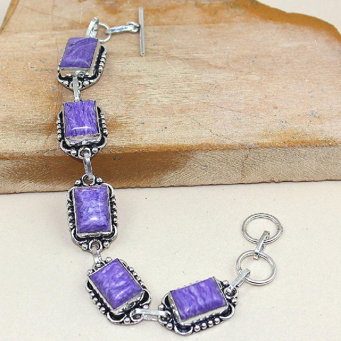 Purple Turquoise 925 Silver Bracelet