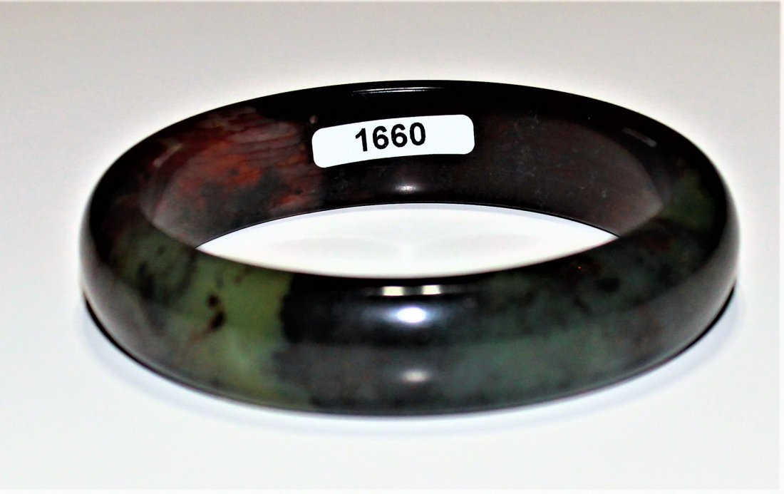 60 mm natural jade hand-carved Bangle - 2