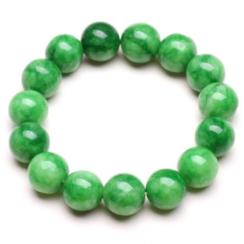 12mm NATURE BEAUTIFUL GREEN JADE JADEITE BRACELET GREEN