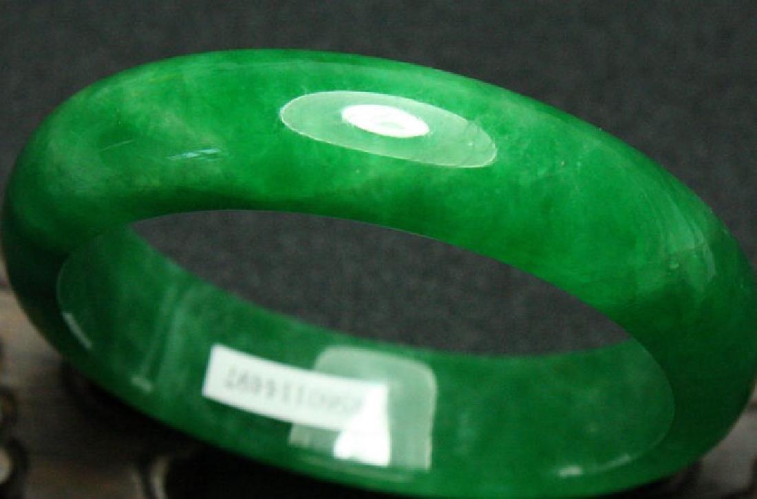 Certified Natural Emerald Green Jadeite Jade Bangle - 2