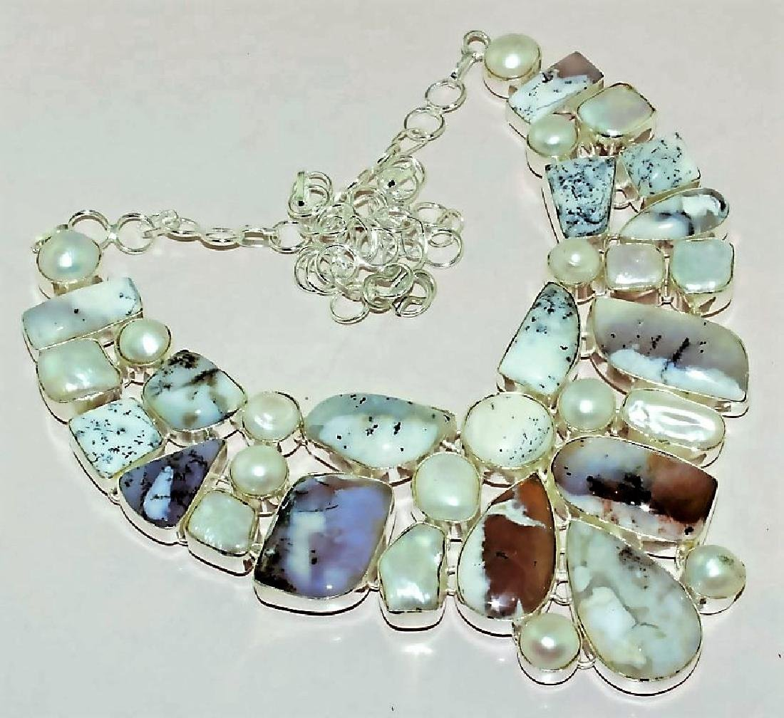 Opal and Biwa Pearl Silver Necklace