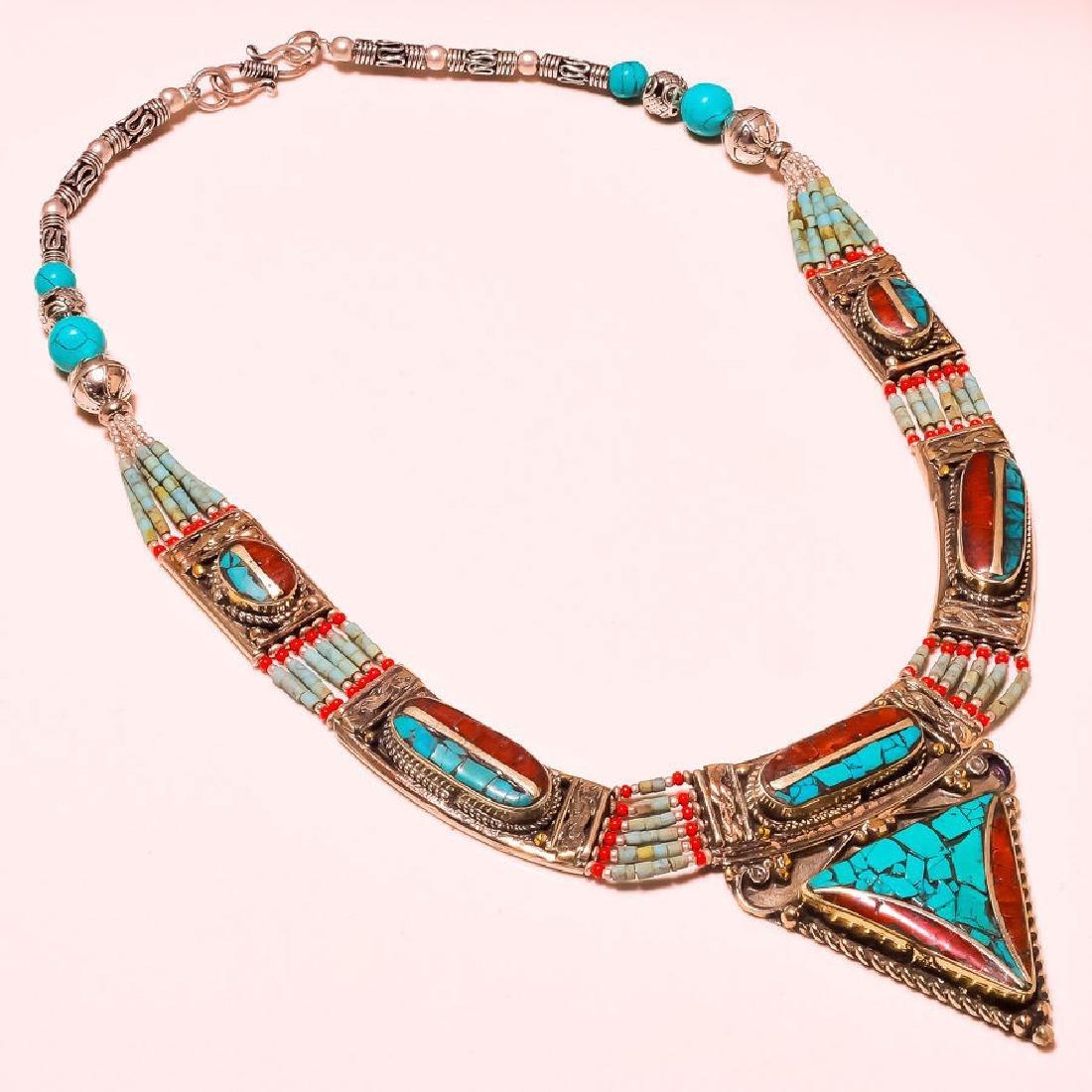 Tibetan Lapis Lazuli & Turquoise & Red Coral Necklace