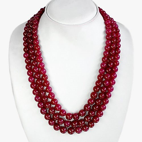 EARTH MINED 3 LINE RICH RED RUBY ROUND BEADS NECKLACE