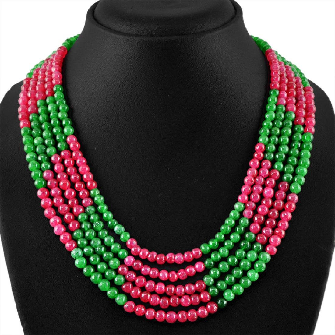 Red Ruby and Green Emerald Beads Necklace
