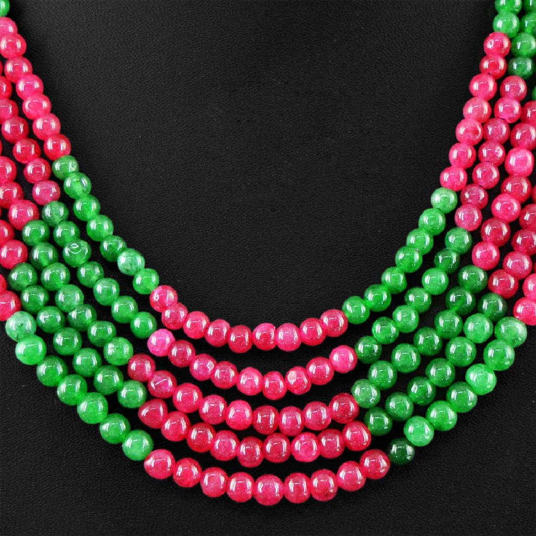 Red Ruby and Green Emerald Beads Necklace - 2