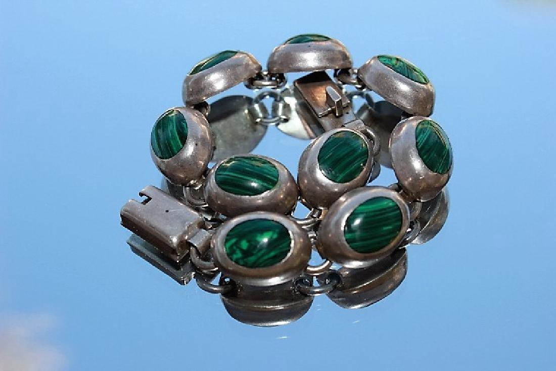 vintige malachite silver bracelt 7inch