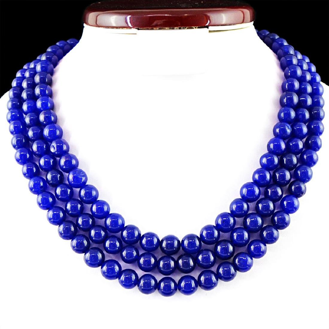 EARTH MINED BLUE SAPPHIRE 3 STARND ROUND BEADS NECKLACE