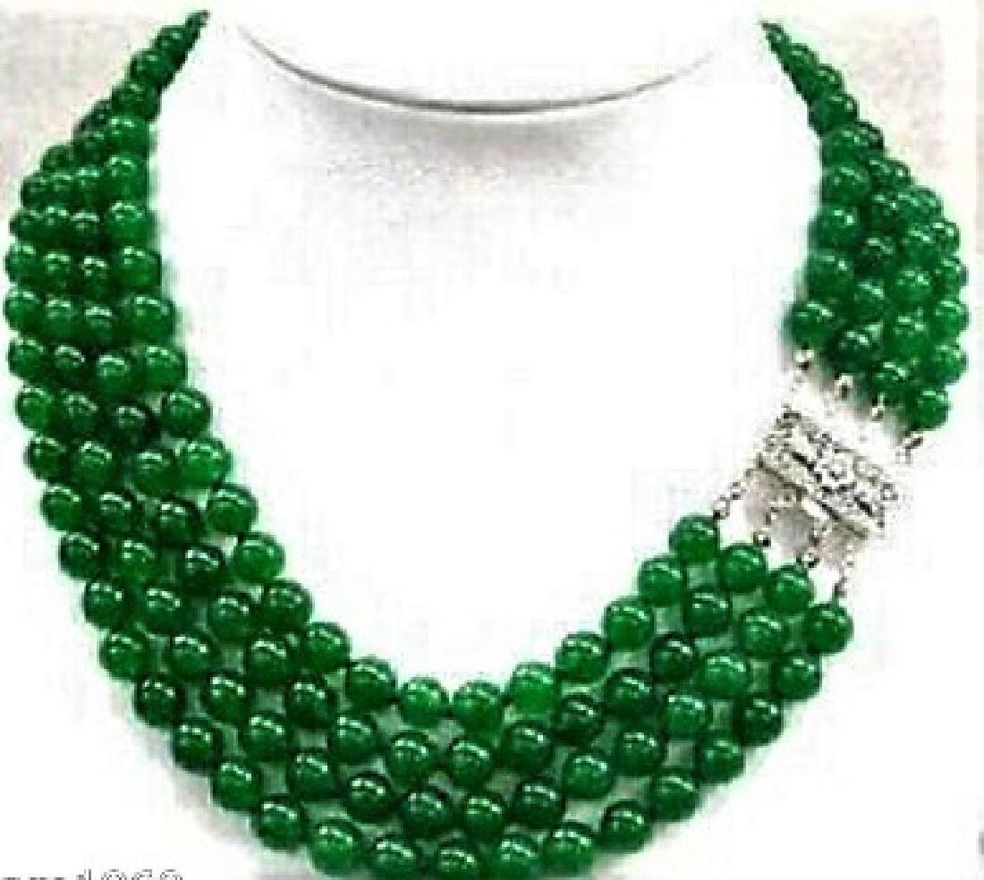 4 Rows Handmade 8mm Natural Green Jade Round Gems Bead