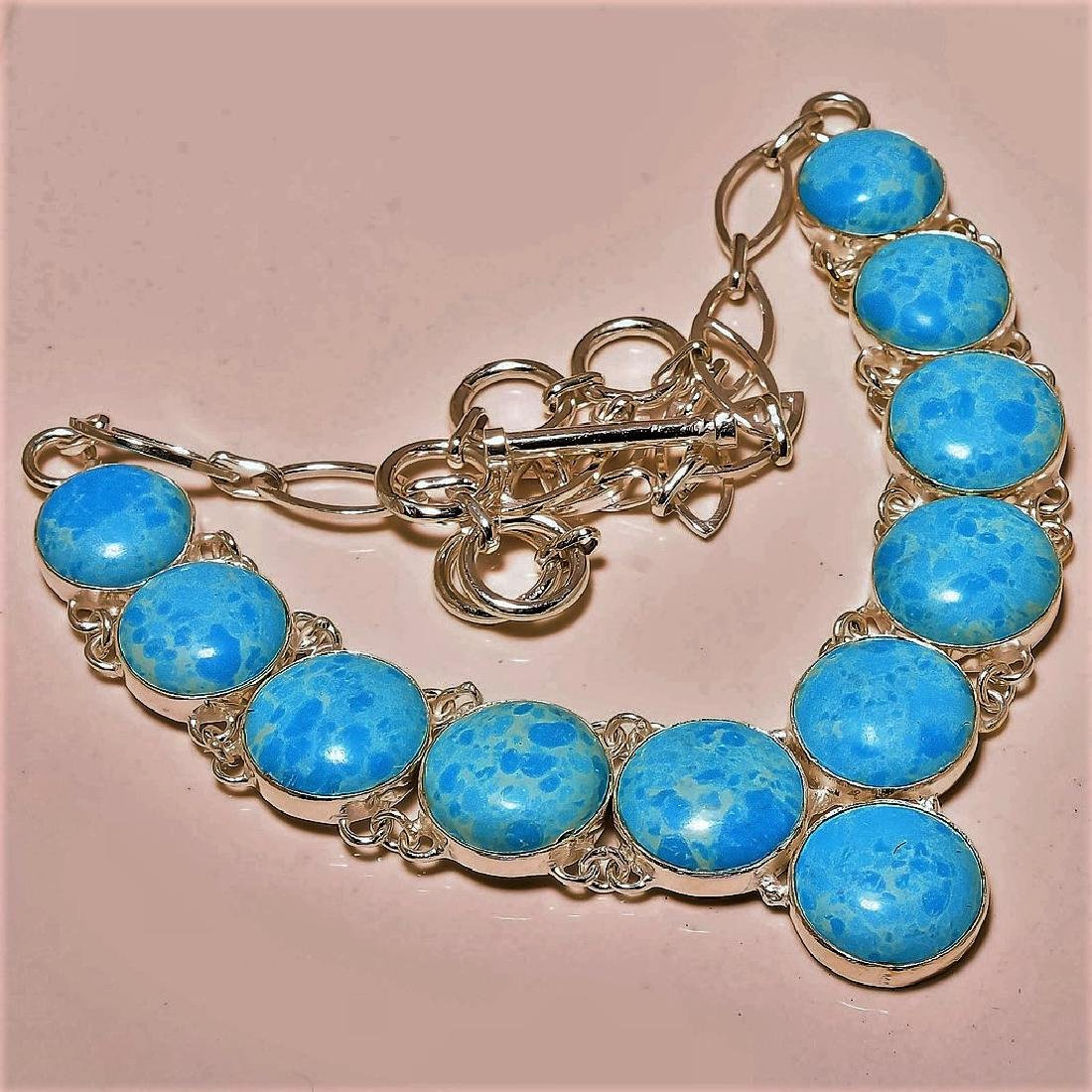 Caribbean Larimar Gemstone Silver Necklace