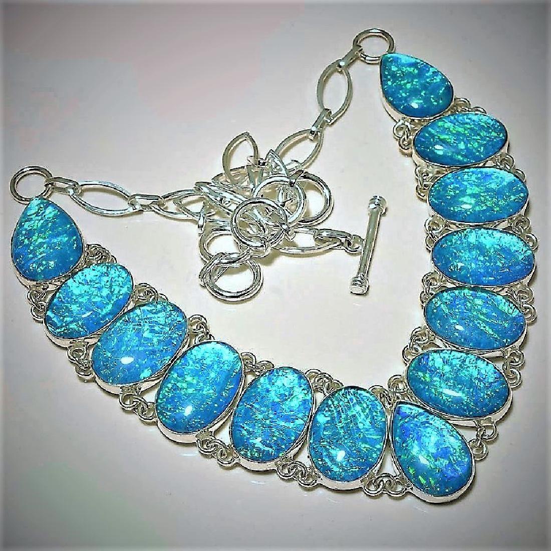 Triplet Opal Gemstone Silver Necklace