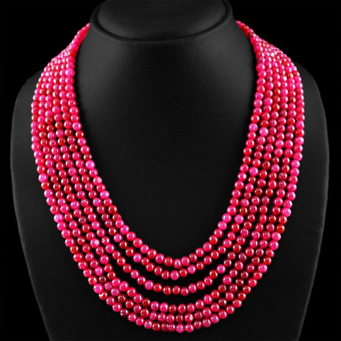 EARTH MINED 6 STRAND EXCLUSIVE RICH RED RUBY ROUND BEA