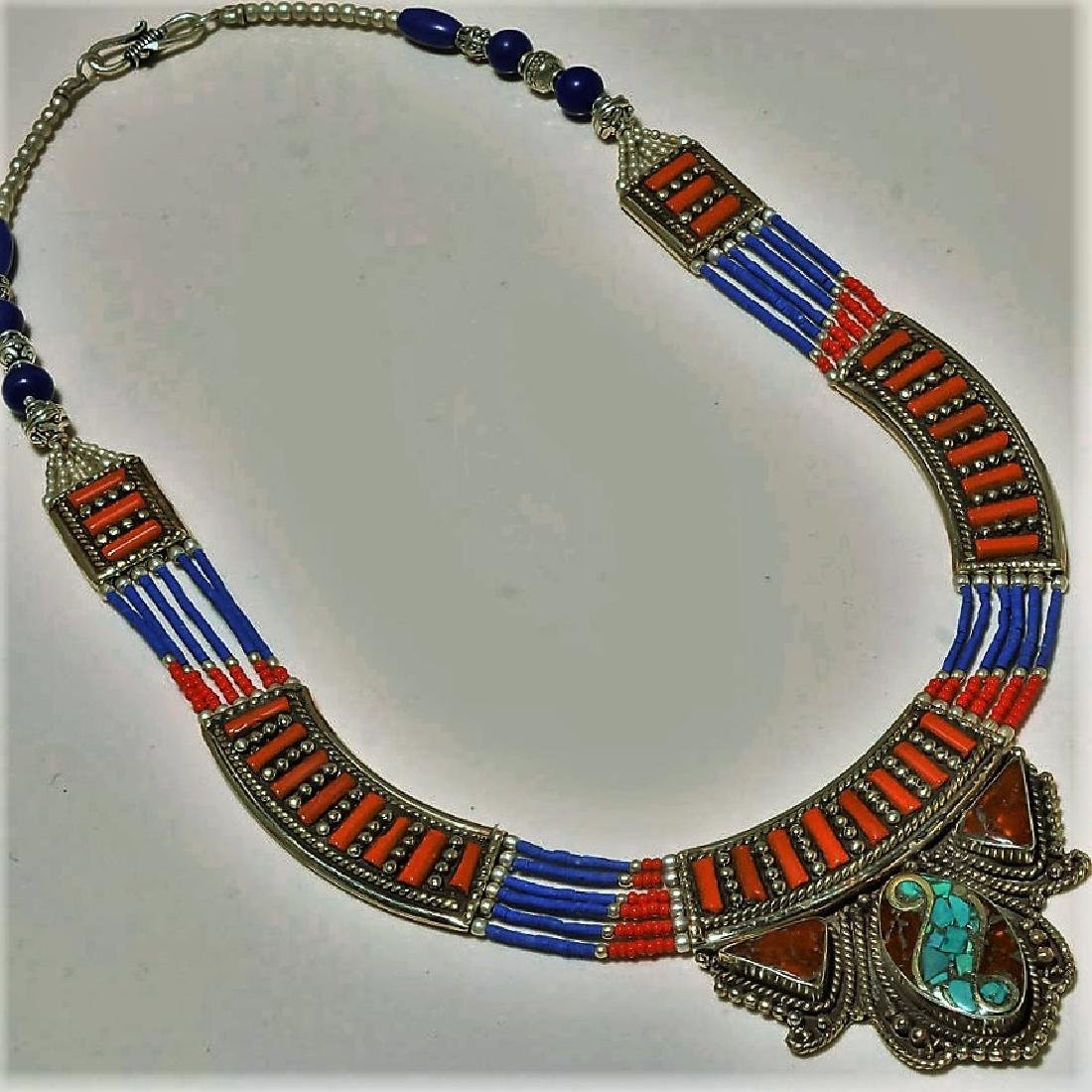 Turquoise & Red Coral with Lapis Lazuli Necklace