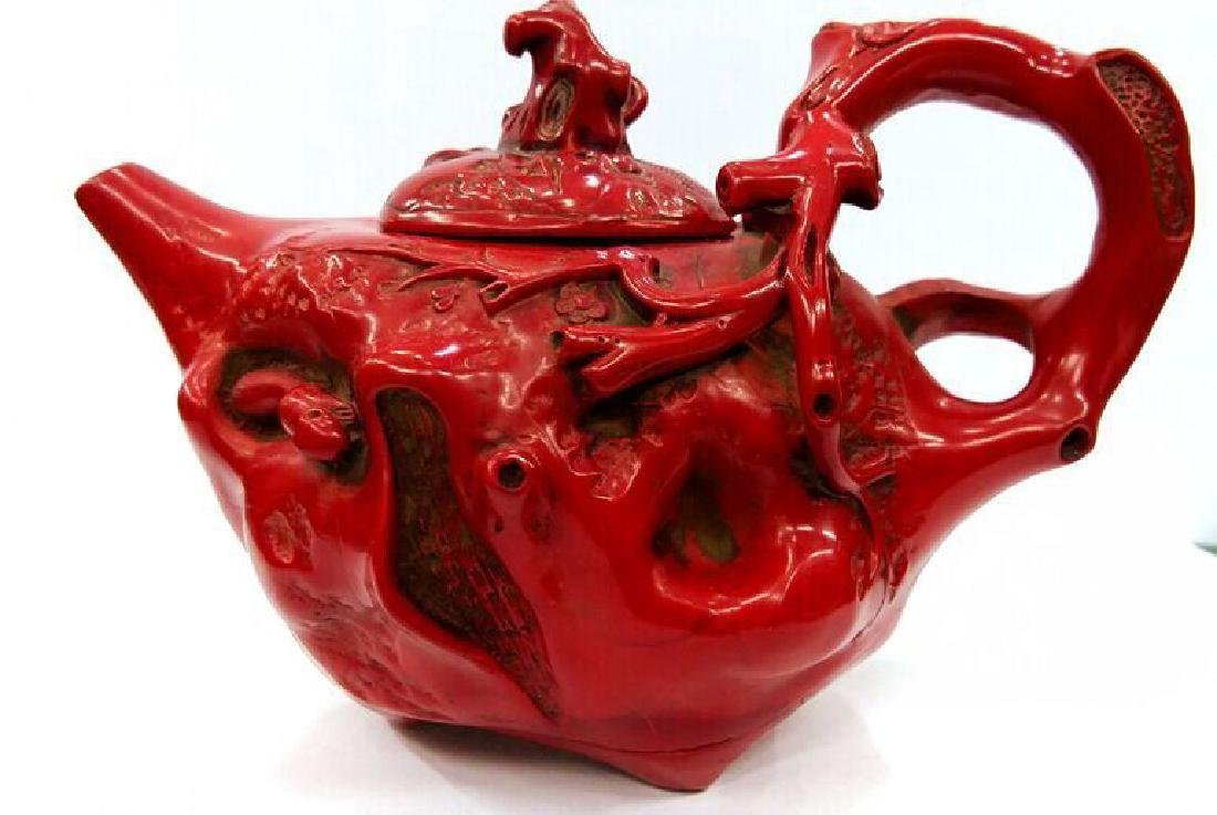 Exquisite Vintage Red Coral Teapot