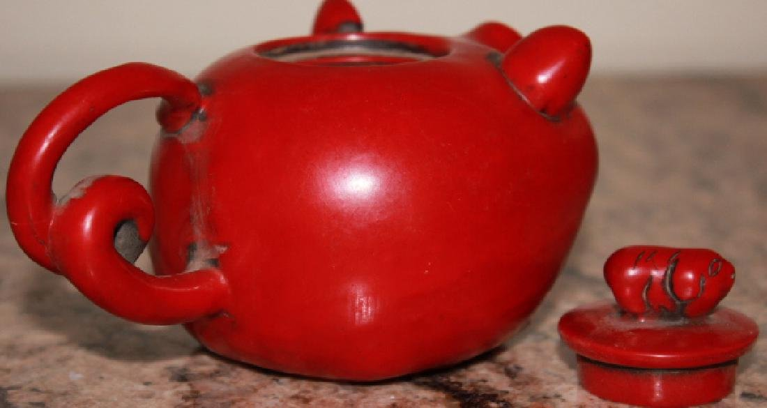 Carved Red Pig Style Teapot - 3