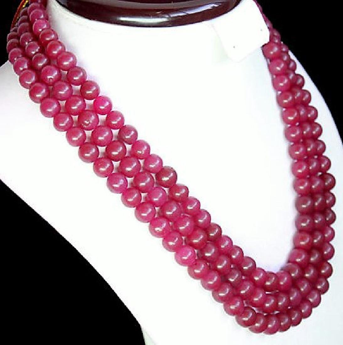 GENUINE EXCLUSIVE EARTH MINED carved 3 LINE RED RUBY