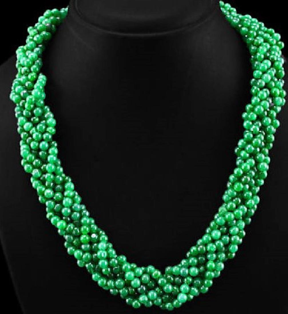 671.45 CTS NATURAL GREEN EMERALD ROUND BEADS NECKLACE
