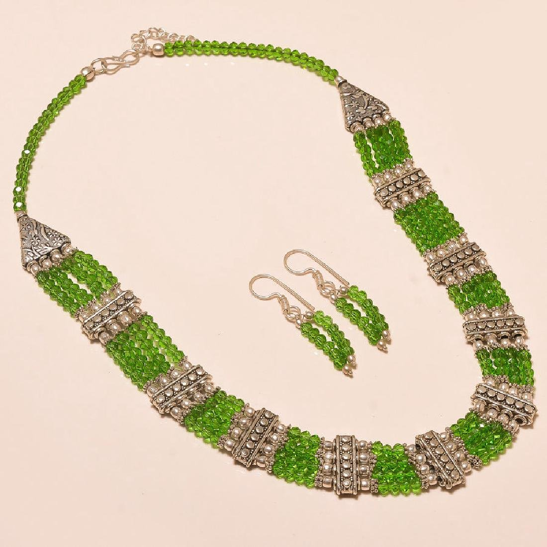 Gorgeous Faceted Peridot Awesome .925 Silver Necklace