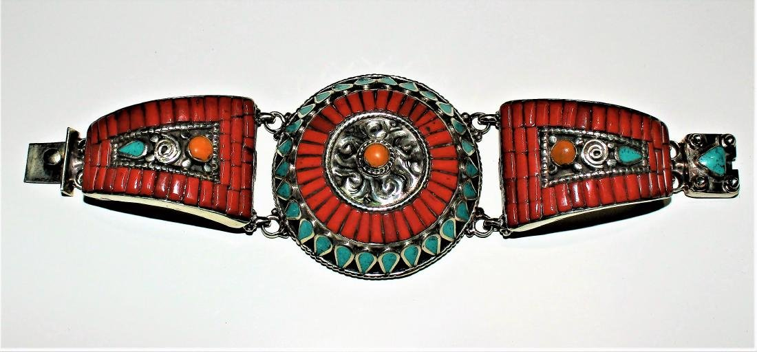 TURQUOISE WITH RED & YELLOW CORAL 925 SILVER TIBETAN - 2