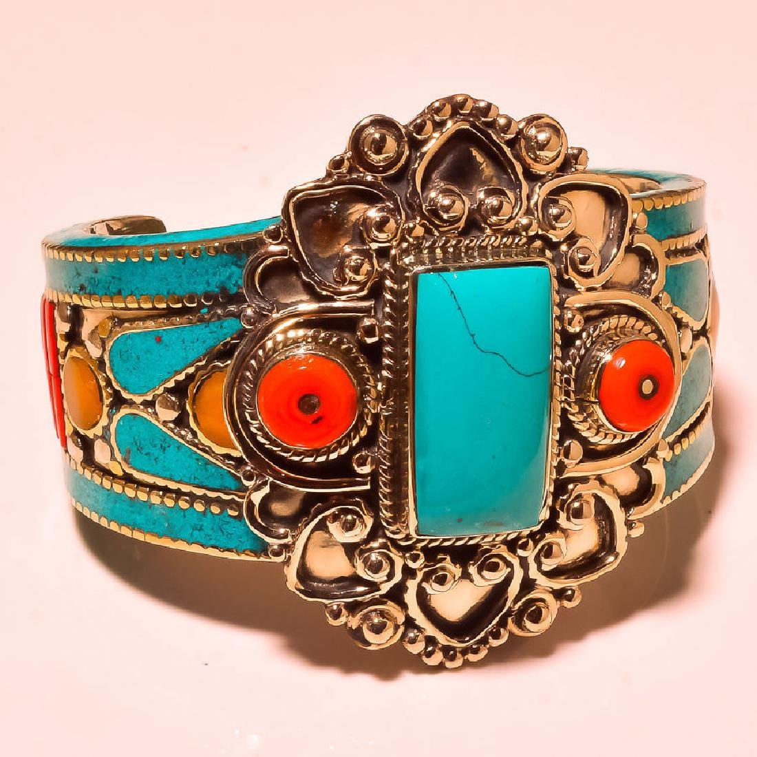 Turquoise With Red & Yellow Coral .925 Cuff