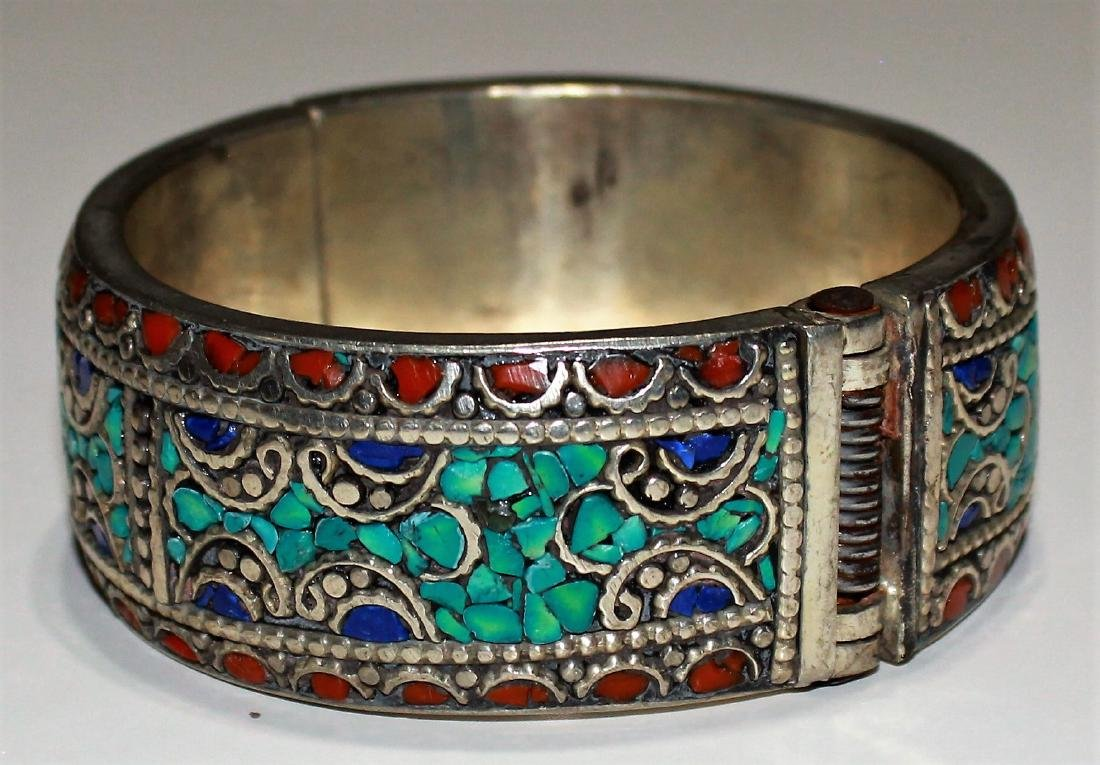 Turquoise With Red & Yellow Coral .925 Cuff - 2