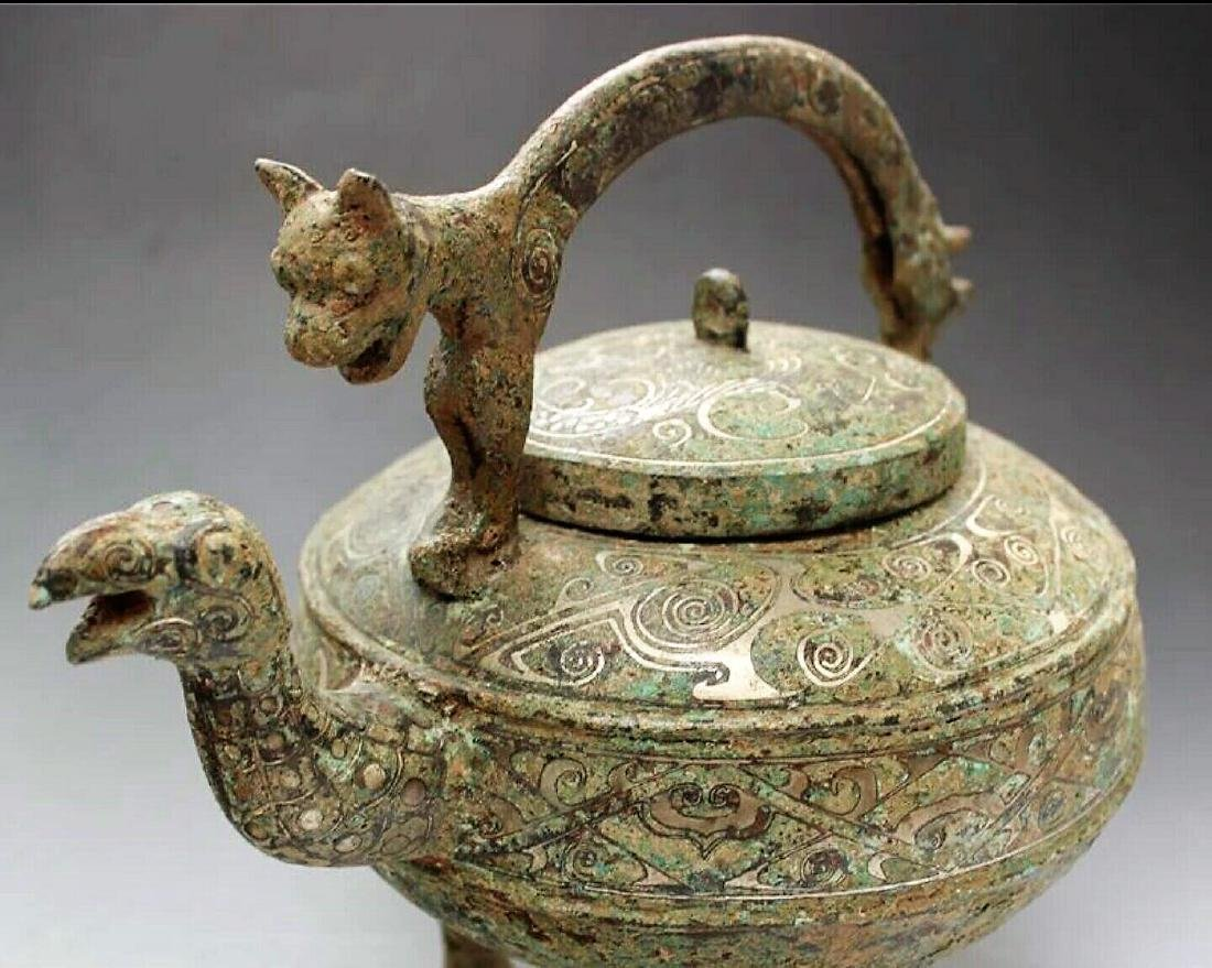 Ancient Chinese bronze coppering.as silver dragon girde - 2